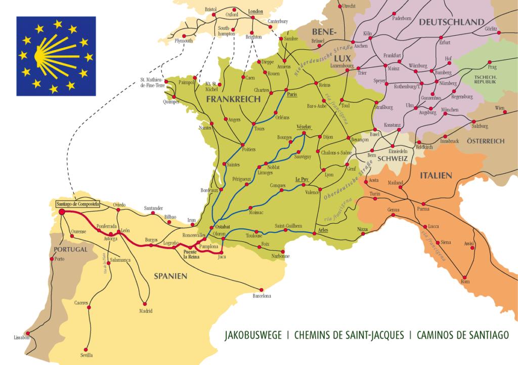 Karte der Jakobswege in Europa