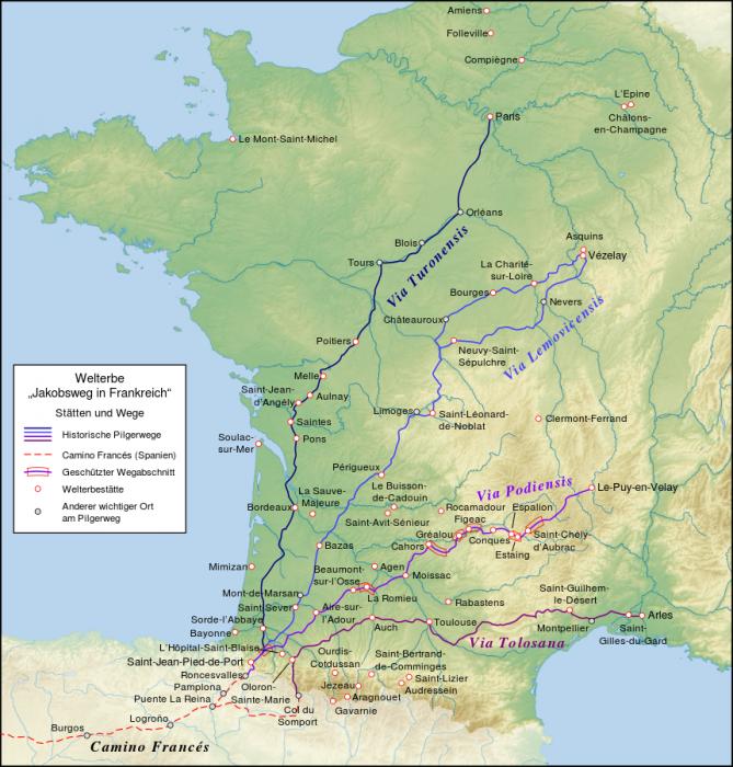 Jakobsweg Frankreich: Karte der wichtigsten Jakobswege in Frankreich