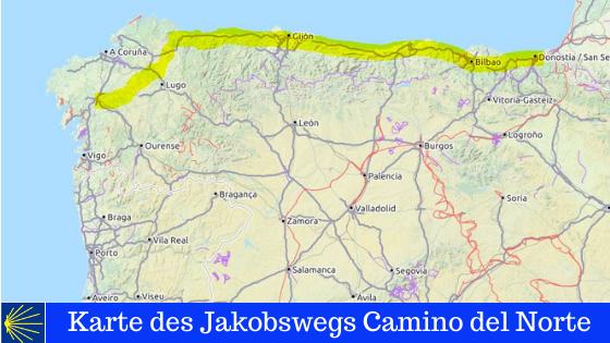 Diese Karte zeigt den spanischen Jakobsweg Camino del Norte