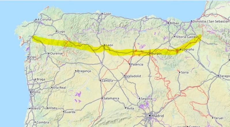 Dies ist eine Karte, die die Route des Camino Francés anzeigt.