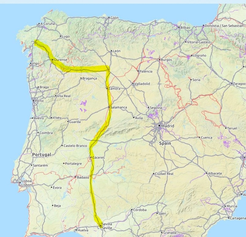 Diese Grafik zeigt eine Karte des Jakobswegs Via de la Plata.