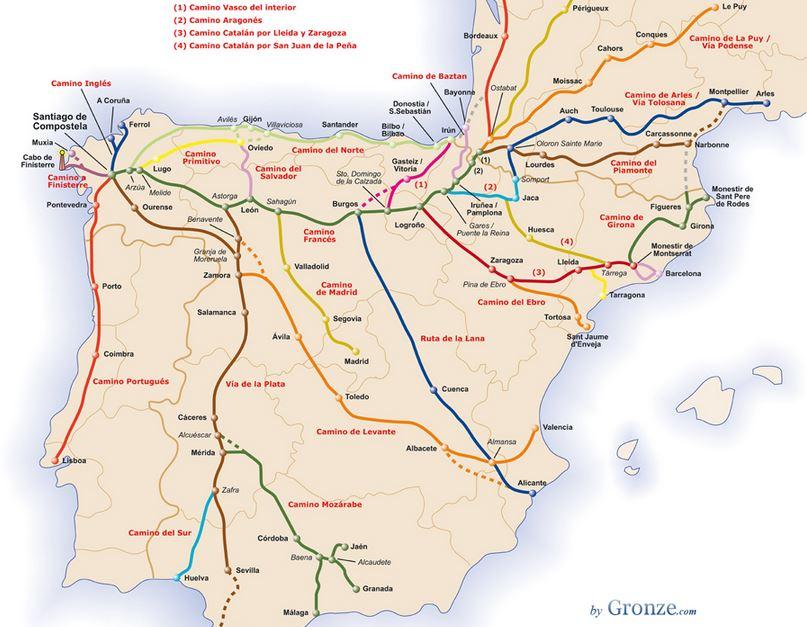Karte der Jakobswege in Spanien