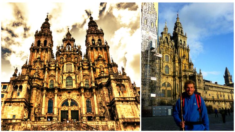 Dies ist ein Foto, das die berühmte Kathedrale in Santiago de Compostela zeigt.