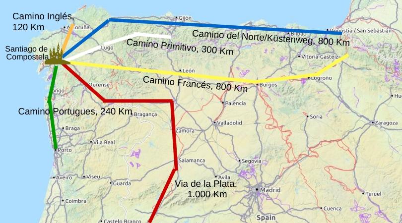Länge der Jakobswege in Kilometern