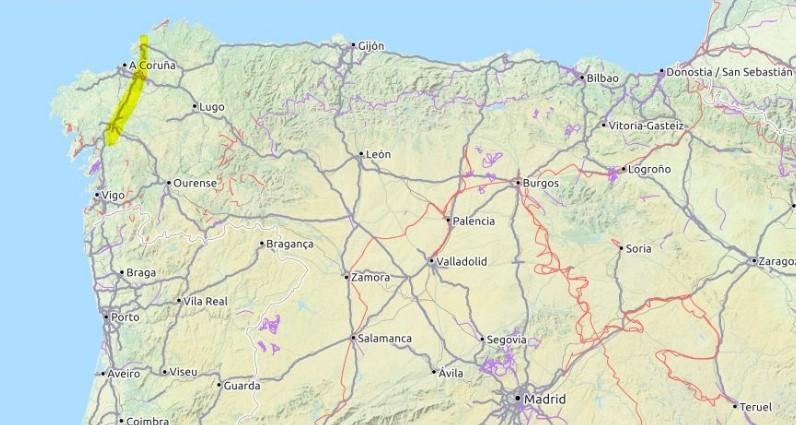 Dies ist eine Karte, die den Jakobsweg Camino Inglés zeigt.