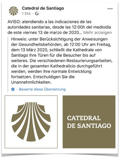 Kathedrale Santiago Coronavirus