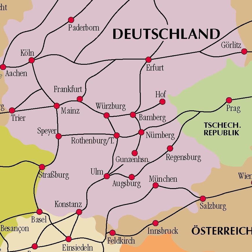 Kartenausschnitt Jakobswege Deutschland